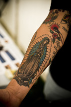 Tattoo of Holy Mother Mary.