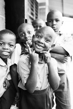 smiling faces of a young children