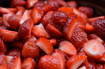 sliced strawberries for salad or ice cream fresh from the garden