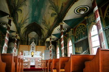 A vividly painted interior of a church.