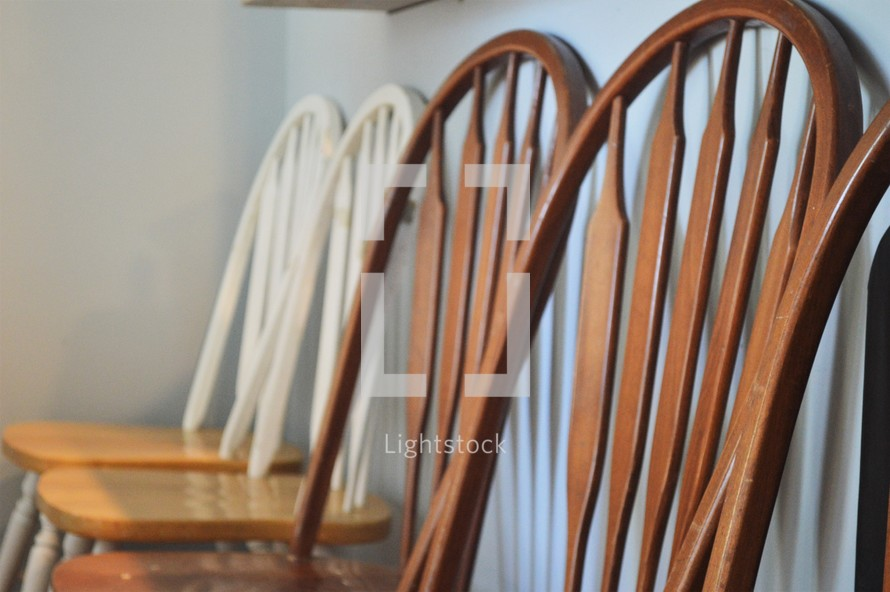row of wooden chairs
