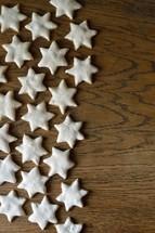 cinnamon stars on wood