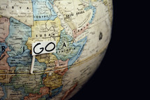 word go on a globe
