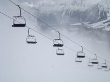 ski lift up a mountain