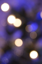 blue and purple Christmas tree bokeh.