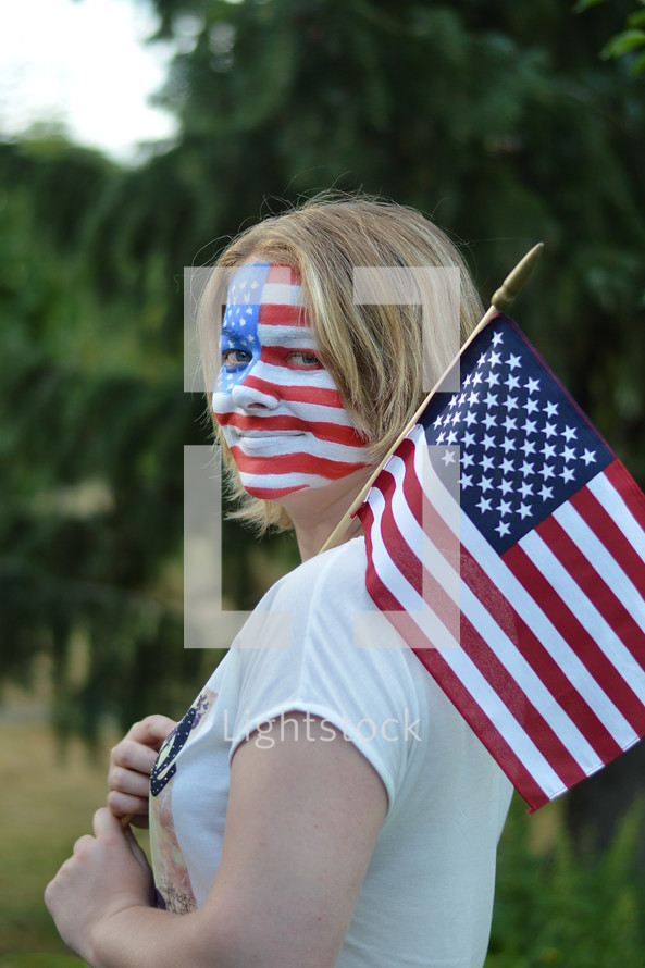 woman with American flag face paint