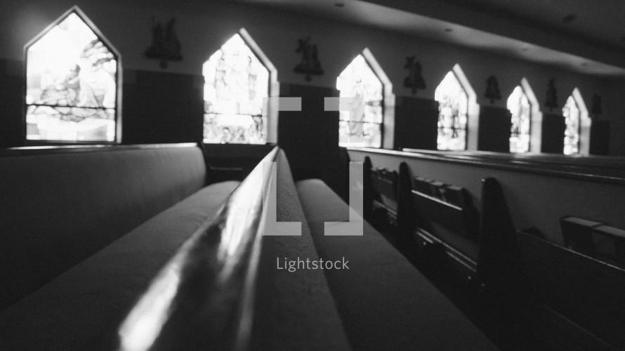 empty pews in a church