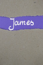 James - torn open kraft paper over lilac paper with the title James