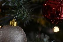 glittery ornament on a Christmas tree