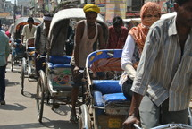 row of pedicabs in India