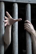 captive behind bars,
