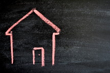 house drawn on a chalkboard