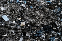huge pile of ferrous waste and scrap.