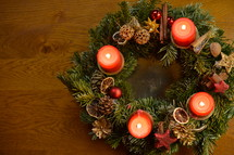 Four candles are burning at the Advent wreath for the fourth advent sunday