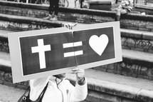 God equals Love sign