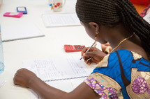 a girl working on homework