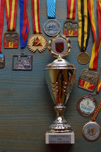 medals and cup on cyan wooden background