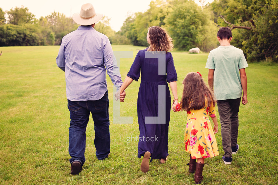 family walking outdoors together