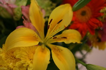 close-up of a yellow lily in a flower bouquet