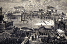 A painting depicting the city of Rome in Biblical times.