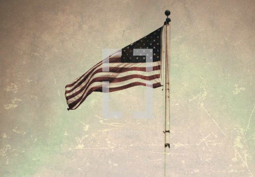 American flag,.