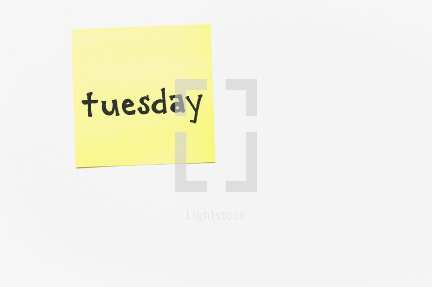 Tuesday on post-it note