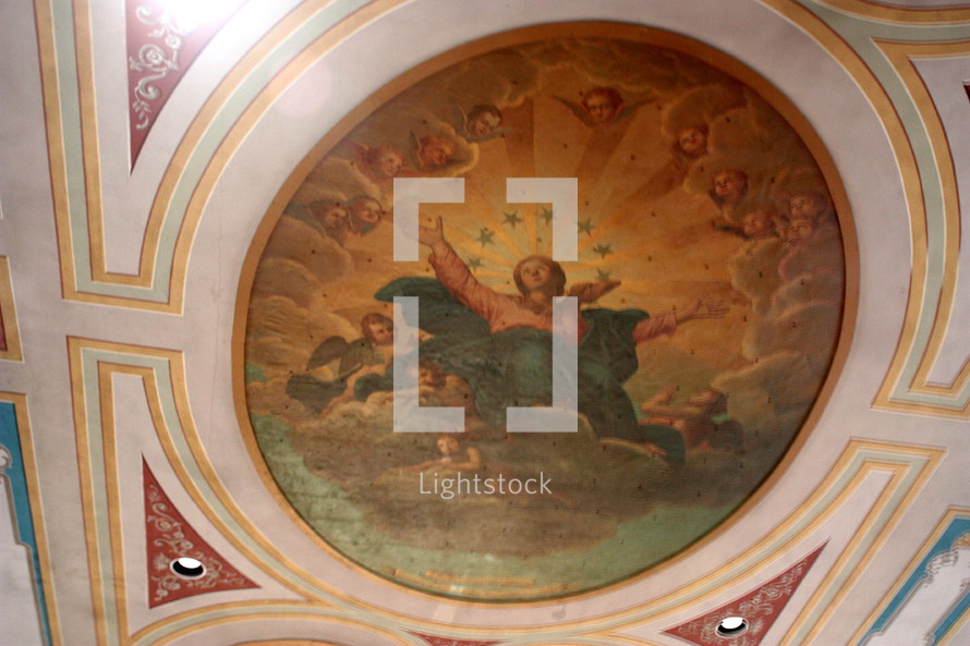 painting of angels on a church ceiling