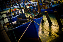 docked shrimp boat