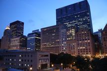 city building lights at night