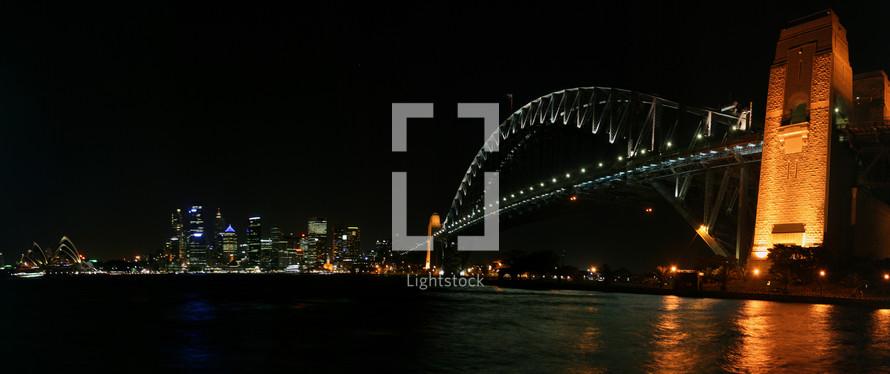 bridge over water at night