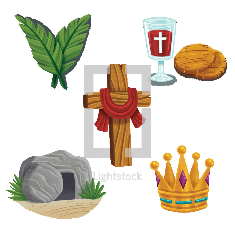 Holy Week spot illustrations for children. Includes Palm Sunday, The Last Supper or Communion, the Cross, the tomb, and a crown.