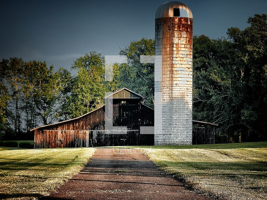 old rustic barn and silo