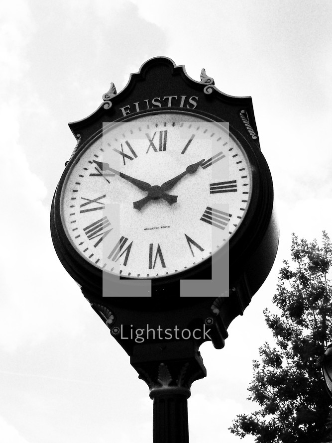 A Large clock stands in the downtown section of Eustis as a historic time piece and center of Downtown commerce and business.