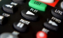 Buttons on a television remote control.