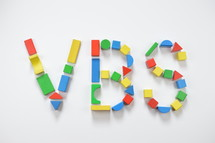 letters VBS of colorful toy wooden blocks