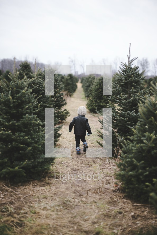 a toddler boy running in a Christmas tree lot