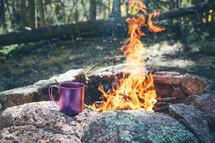 campfire and coffee mug