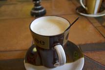 Coffee mug with coffee, cafe,