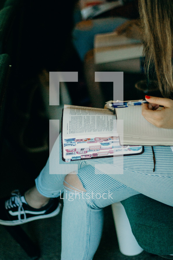teen girl with a Bible in her lap