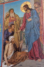 Mosaic of Jesus healing the paralytic