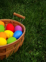 Basket of multicolored Easter eggs in the grass.