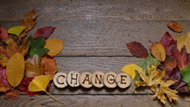 changing colorful leaves on wooden planks and pieces of wood with the letters spelling CHANGE burnt into them
