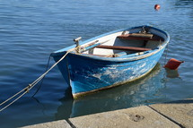 boat tied to the shore