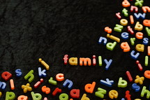 word family in magnetic letters