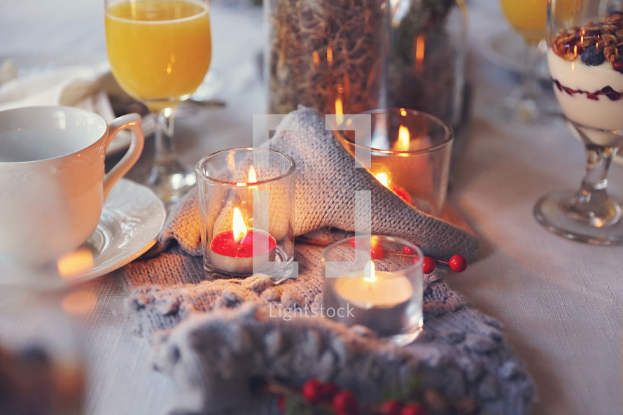 winter table setting at a dinner party