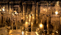 votive prayer candles in a church