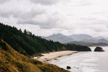 beach on a mountainous coastline