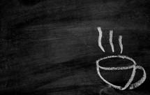 chalk coffee mug with steam