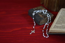 rosary and open Bible