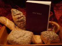 man does not live on bread alone, but on every word that comes from the mouth of God - matthew 4, 4,   bread, word, bible, food, alone, gods word, our daily bread, scripture, eat, eating, mouth, matthew, red, bun, feed, nourish, nurturing, subsist, holy, book